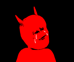 sad demon cries