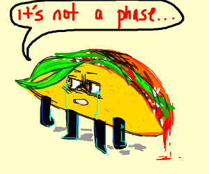 A very depressed taco says it's not a phase