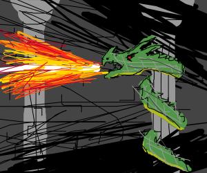 Fire breathing snake-dragon