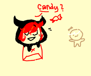 Demon gives child candy
