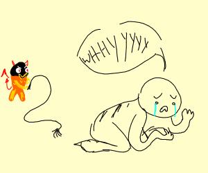 Demonic fish torturing someone