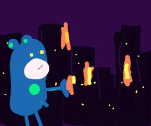 Giant blue creature destories city