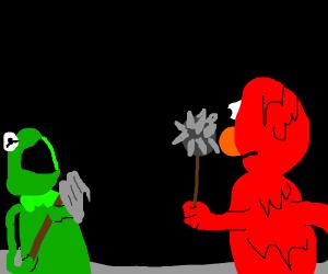 The epic battle of Kermit vs Elmo