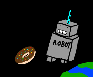 Robot being hit by a donut