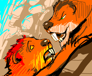 Scar and Mufasa cliff scene, but with gophers