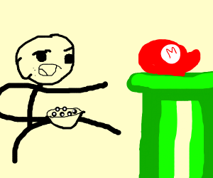 stickman troll points at a mario pipe
