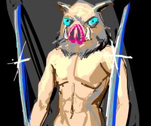 Inosuke holds forth his blades