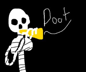 Skeleton playing the trumpet