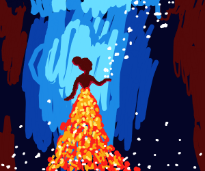 Magical girl in fire gown