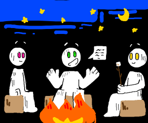 telling life stories around the campfire