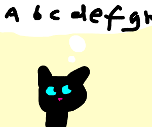 Cat thinking about the alphabet