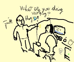 Balding boss tells employee to draw