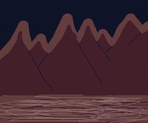 Brown mountains at night