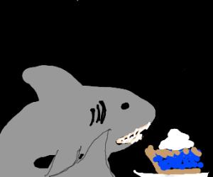 Shark has blueberry pie