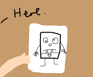 giving a friend a drawing of DoodleBob