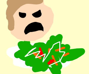 Man disgusted by salad
