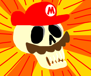 skull cosplays as mario