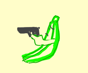Green banana has a gun