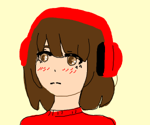 a blushing chibi girl wearing headphones