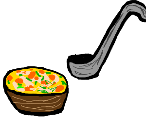 A ladle venturing into a soup only location