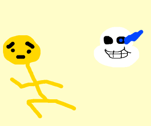 yellow guy trying to escape Sans