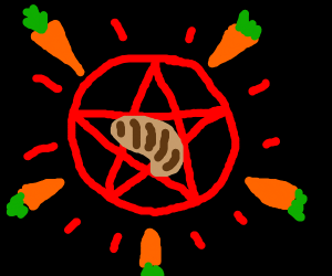 Carrots perform a ritual to summon the steak.