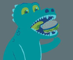 Dinosaur thoroughly enjoys hamburger