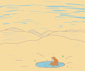monkey sitting in small pond