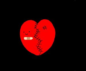 BROKEN HEART that's STITCHED back together