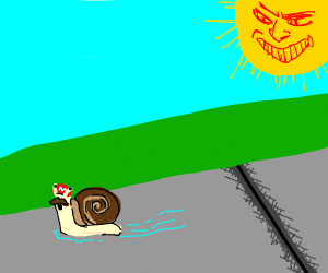 Mario snail fleeing from angry sun