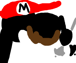 Mr game and watch disguised as Mario