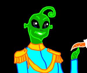 charming green alien