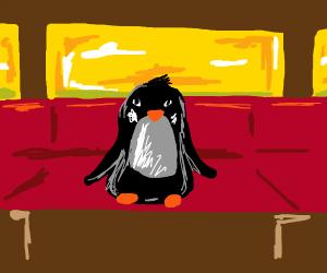 Penguin in a train car.