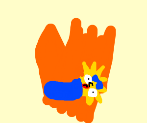 Maggie Simpson on fire