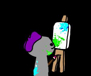 a person painting a landscape