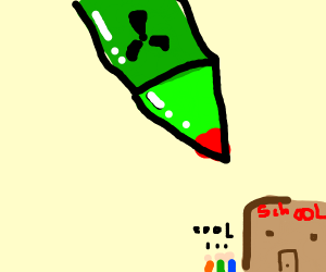 A rocket going to school.