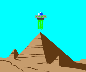 8 bit UFO over the great pyramid