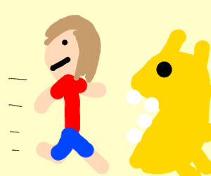 Man runs into mouth of spiky Pac-Man