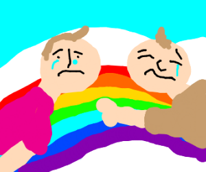 Rainbow with two sad guys hugging