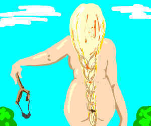 Naked woman with broken slingshot