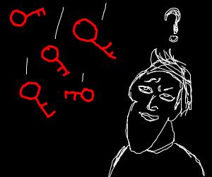 """""""Is it raining red keys?"""" a man wonders."""