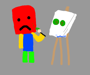 red roblox man paints sadly
