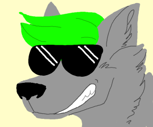 Wolf with green hair and sunglasses