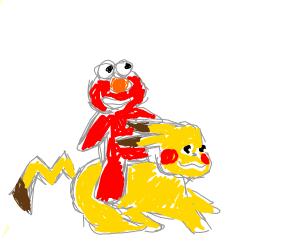 elmo riding pikachu