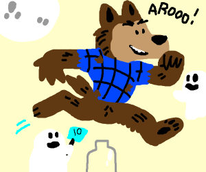 Werewolf jumping over a Bottle