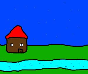 A Little Stream Running By A Cabin