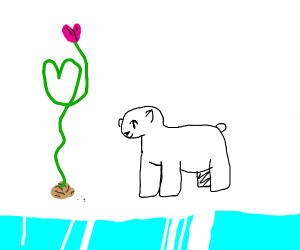 Polar bear growing heart plant