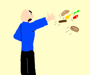 guy throwing a burger that is falling apart