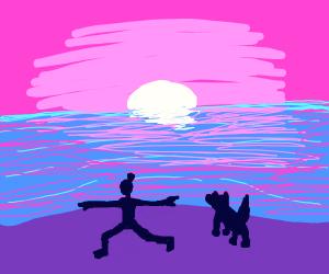 Sunset yoga with dog on a beach