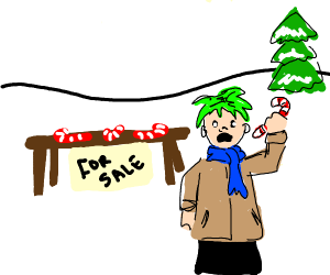 a green-haired boy selling candy canes